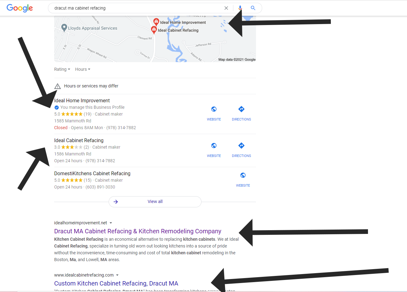 Google search for Dracut MA cabinet refacing