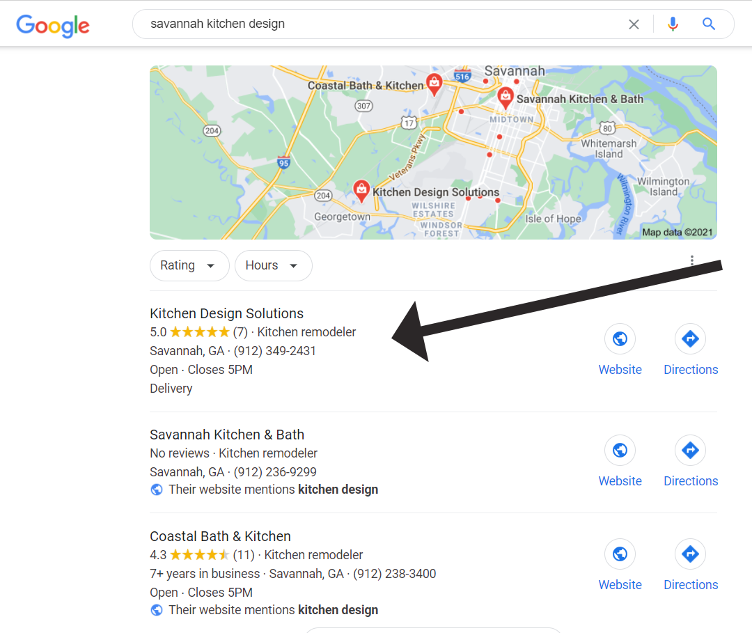 Google my Business map position 1