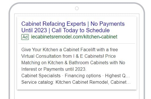 Google ads targeting strategies sample ad